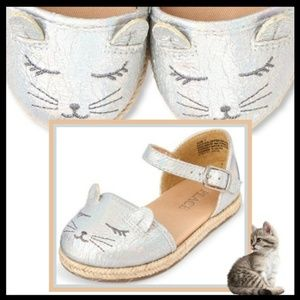Toddler Girls Cat Face Metallic Sandals